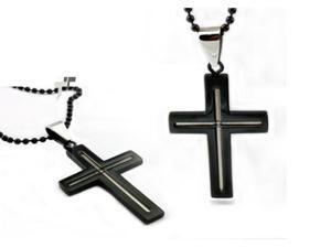 Black Stainless Steel Men's Cross Pendant