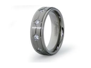Titanium Wedding Ring with CZ 7mm