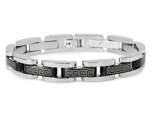 Tioneer Men's Two-Tone Laser Engraved Stainless Steel Link Bracelet