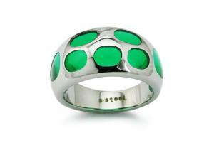 Stainless Steel Womens Ring w/ Color Resin Inlay
