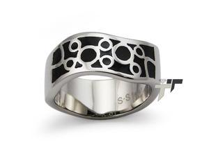 Stainless Steel Womens Ring w/ Black Resin Inlay