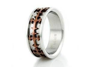 Stainless Steel Men's Ring w/ Brown Plated Cross Design
