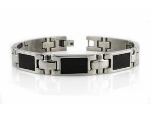 Titanium Bracelet w/ Black Carbon Fiber Inlay