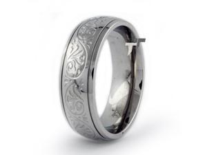 Stainless Steel Ring w/ Engraved Flower Design
