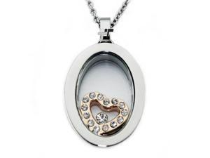 Stainless Steel Glass Pendant w/ Heart Rose Gold Plating
