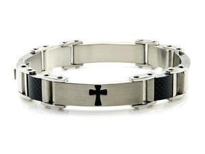 """Men's Stainless Steel Bracelet w/ Cross Design 8.75"""""""