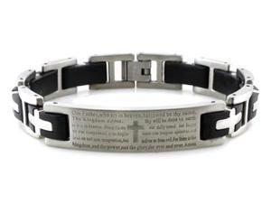 """Stainless Steel Lord's Prayer ID Biker Bracelet w/ Black Rubber Links 8.5"""""""