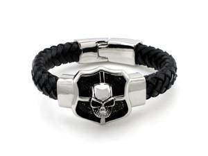"Stainless Steel Skull Shield Leather Rope ID Bracelet 8"""
