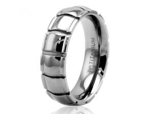 6mm High Polish Titanium Grooved Dome Ring