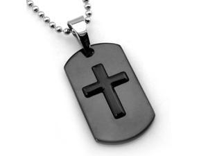 Two-Tone Black Stainless Steel High Polish Dog Tag Cross Pendant