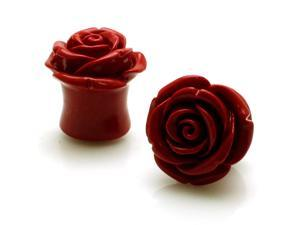 "5/8"" Gauge (16mm) Acrylic Tunnel Red Rose Ear Plugs"