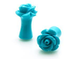 2g (6mm) Acrylic Tunnel Turquoise Rose Ear Plugs
