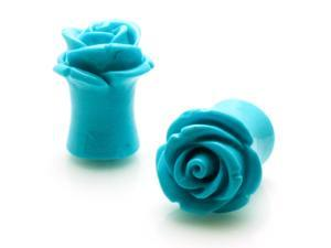 00g (9mm) Acrylic Tunnel Turquoise Rose Ear Plugs