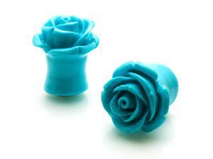 "1/2"" Gauge (12.7mm) Acrylic Tunnel Turquoise Rose Ear Plugs"