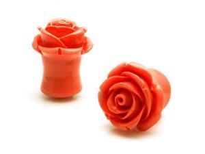 "7/16"" Gauge (11mm) Acrylic Tunnel Peach Rose Ear Plugs"