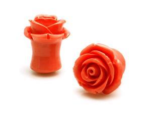 "1/2"" Gauge (12.7mm) Acrylic Tunnel Peach Rose Ear Plugs"