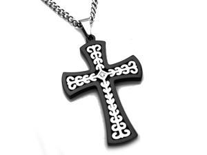 Tioneer P30711 Stainless Steel Two-Tone Celtic Cross Pendant with 0.02ctw CZ Center Stone