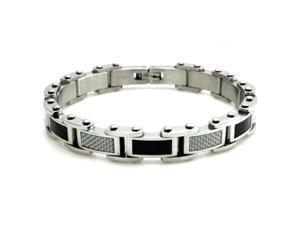 "Tioneer B32313 Stainless Steel Biker Bracelet w/ Muli-Colored Carbon Fiber Inlays 8.5"""