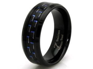 Tioneer R30643-090 Black Stainless Steel Ring w/ Blue Carbon Fiber Inlay