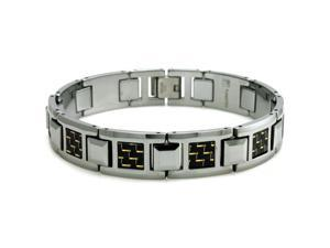 Men's Tungsten Carbide Bracelet w/ Black & Yellow Carbon Fiber Inlay 8""