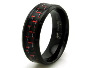Tioneer R30642R-090 Black Stainless Steel Ring w/ Red Carbon Fiber Inlay