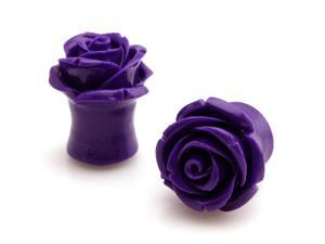 "1/2"" Gauge (12.7mm) Acrylic Tunnel Purple Rose Ear Plugs"