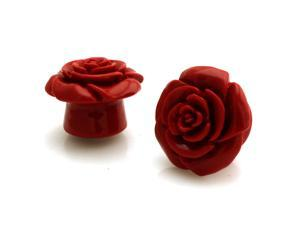 "5/8"" Gauge (16mm) Opaque Red Acrylic Rose Ear Expander Ear Plugs"