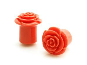"7/16"" Gauge (11mm) Opaque Pink Acrylic Rose Ear Expander Ear Plugs"