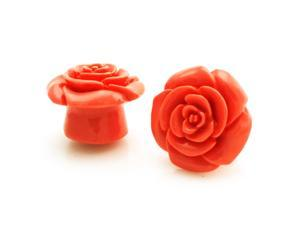 "5/8"" Gauge (16mm) Opaque Pink Acrylic Rose Ear Expander Ear Plugs"