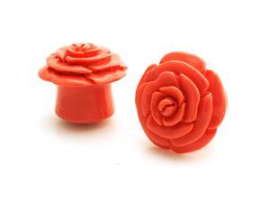 "7/8"" Gauge (22mm) Opaque Pink Acrylic Rose Ear Expander Ear Plugs"