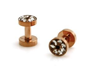 10g (2.5mm) Rose Gold Stainless Steel Hollow Tunnel Ring of Gems Ear Expander Ear Plugs