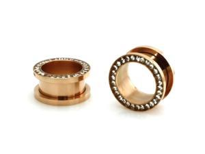 "5/8"" Gauge (16mm) Rose Gold Stainless Steel Hollow Tunnel Ring of Gems Ear Expander Ear Plugs"