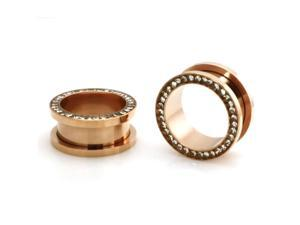 """3/4"""" Gauge (19mm) Rose Gold Stainless Steel Hollow Tunnel Ring of Gems Ear Expander Ear Plugs"""