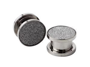 """7/16"""" Gauge (11mm) Stainless Steel Hollow Tunnel Silver Sparkles Ear Expander Ear Plugs"""