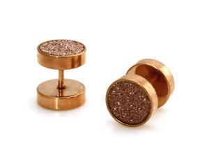 10mm Rose Gold Stainless Steel Silver Glitter Fake Cheater Plugs