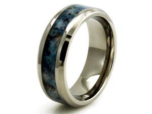 TIONEER R20398-095 Titanium w/ Imitation Blue Marble Inlay Band Design Ring