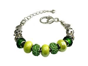 Tioneer B33294 Multi-color Emerald and Green Beaded Charms Metal Alloy Bracelet