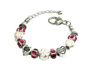 Tioneer B33297 Multi-Color Hot Pink and Peach Beaded Charms Metal Alloy Bracelet