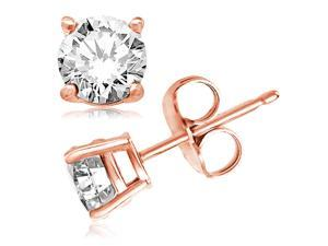 Rose Gold Plated Sterling Silver 4mm Round Cubic Zirconia Gem Stud Earrings