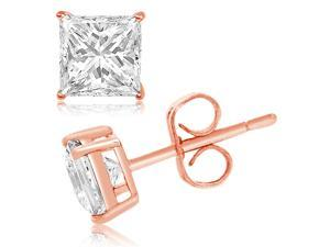 Rose Gold Plated Sterling Silver 4mm Princess Cubic Zirconia Gem Stud Earrings