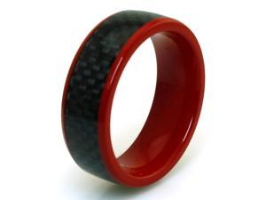 Tioneer R20402-130 Red Coated Titanium Black Carbon Fiber Inlay Ring