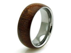 Tioneer R30895-090 Stainless Steel Mahogany Wood Inlay Domed Ring