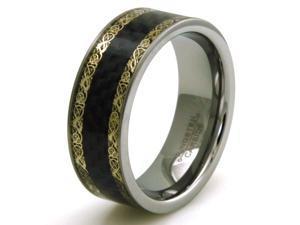 Tioneer R15564-095 Tungsten Dragon Print Black Carbon Fiber Inlay Mens Wedding Band