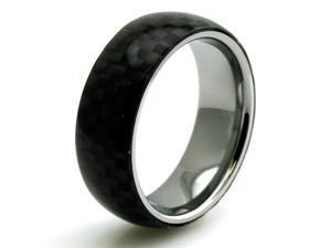 Tioneer R15568-095 Tungsten Black Carbon Fiber Inlay Domed Mens Ring