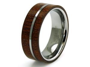 Tioneer R15566-120 Tungsten Mahogany Wood and Center Silver Colored Band Inlay Men's Ring