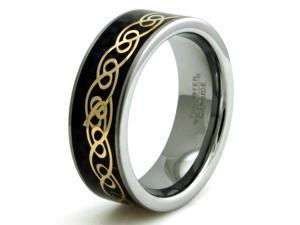 Tioneer R15555-100 Tungsten Black Carbon Fiber Mens Ring & Gold Infinity Filigree Inlay