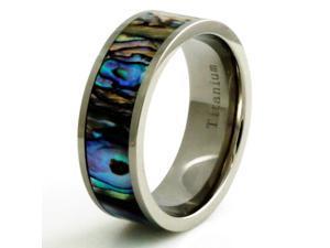 Titanium Fluorescent Abalone Shell Inlay Ring