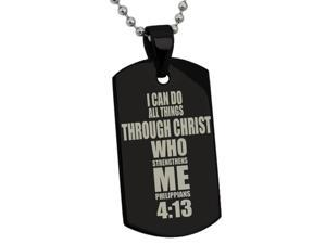Black Stainless Steel Philippians 4:13 Bible Verse Dog Tag