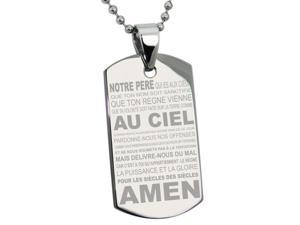 Stainless Steel Lord's Prayer French Translated Dog Tag