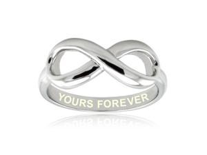 Sterling Silver Yours Forever Engraved Infinity Ring